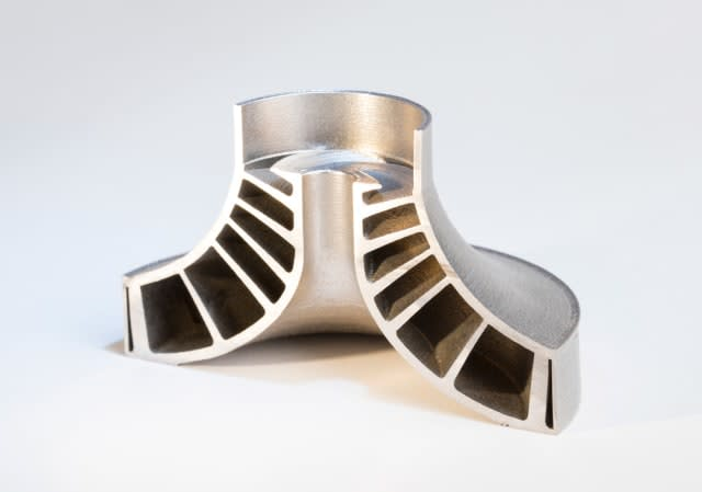 This part, a shrouded impeller that was 3D printed using Velo3D's technology, has not been post-processed. These low angles are impossible to achieve without support structures when using traditional PBF processes. (Image courtesy of Velo3D.)
