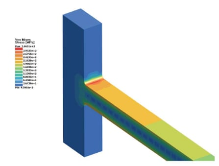 Cantilever beam under an end load shows maximum stress. Results with SimSolid were within 2.8 percent of the handbook value. (Image courtesy of Altair.)