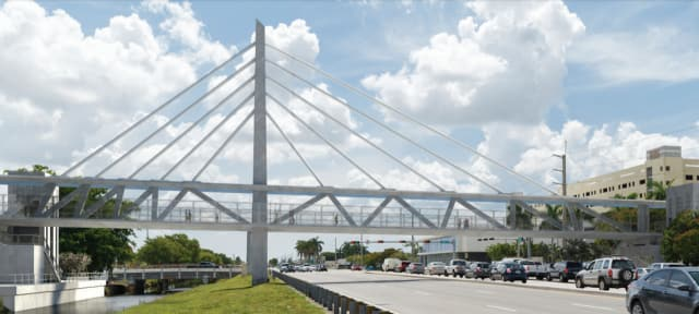 """Artist rendering of the FIU Pedestrian Bridge, an """"innovative signature bridge."""" Designed for aesthetics to look like a cable stayed bridge, the bridge functions more like a truss bridge. (Image courtesy of MCM/FIGG.)"""