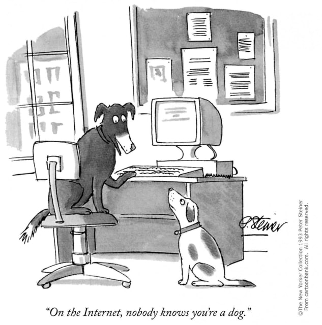 A small company can easily look big on the Internet compared to the days it had to be done with trade shows and magazines. (Image courtesy of The New Yorker.)