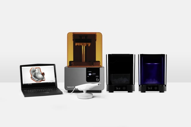 The package includes a Phoenix in-ear scanner, a Form 2 3D printer and Wash and Post-Cure systems. (Image courtesy of Formlabs.)
