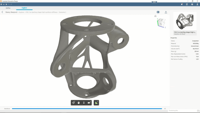 An example of a design generated to have high stifness. (Image courtesy of Autodesk.)