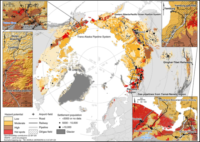 An image from a Nature Communications study shows areas of permafrost thaw risk. Many towns and settlements are built on places that have high permafrost thaw risk. (Image courtesy of Hjort et. al, 2018.)