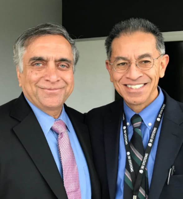 Vyomesh Joshi, CEO of 3D Systems (left), and author.