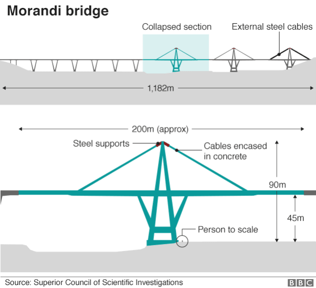 A diagram of the bridge, showing the section that collapsed.