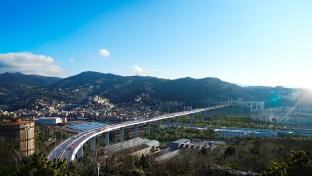 A rendering of the bridge from a farther distance gives a view of how it will look in the context of Genoa. (Image courtesy of Renzo Piano.)