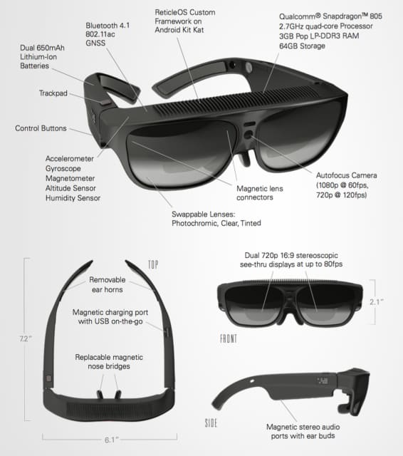 The specs for the ODG R-8 and R-9 Smartglasses have not been released, but take a look at the specs for the ODG R-7 Smartglasses above. Product design and engineering teams have a lot of interesting parameters and decisions to make for wearable AR like the ODG R-7. (Image courtesy of Osterhaut Design Group.)