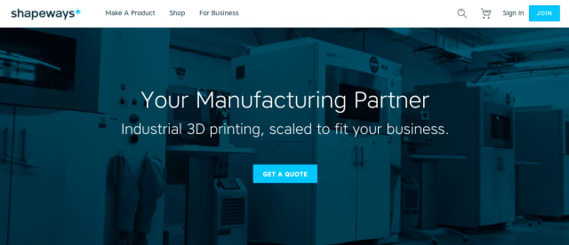 Shapeways also offers manufacturing services, printing parts for clients such as Disney, Target and Google.