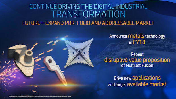 HP's metal 3D printing plans as outlined at the HP Securities Analyst Meeting 2017. (Image courtesy of HP.)