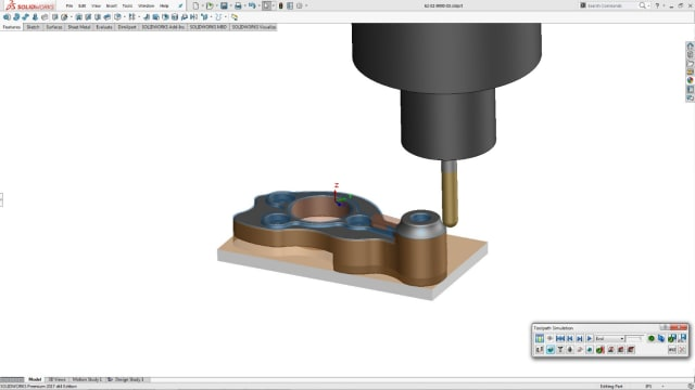 SOLIDWORKS CAM generates toolpaths without leaving the application. (Image courtesy of Dassault Systèmes SolidWorks.)
