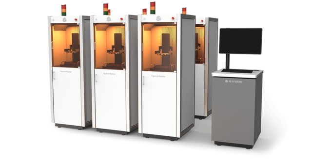 The Figure 4 Modular is meant for printing multiple unique parts, with a centralized post-processing solution. It includes automated material handling, but a manual post-processing station for cleaning, drying and curing. (Image courtesy of 3D Systems.)