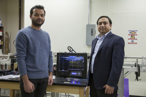 Ashish Kumar Singh (left), a doctoral student of Nikhil Gupta (right), associate professor of mechanical and aerospace engineering at NYU, reported the development of 3D printing syntactic foam filaments using off-the-shelf commercial printers. (Image courtesy of NYU Tandon.)