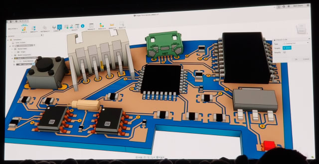 3D geometry of a PCB design in Fusion 360. (Image from AU keynote.)