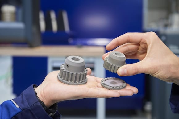 A part produced using Desk Metal additive manufacturing technology the BMW Group's Additive Manufacturing Campus. (Image courtesy of the BMW Group.)
