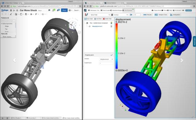 Screenshot of SimScale being used alongside Onshape. (Image courtesy of Onshape).