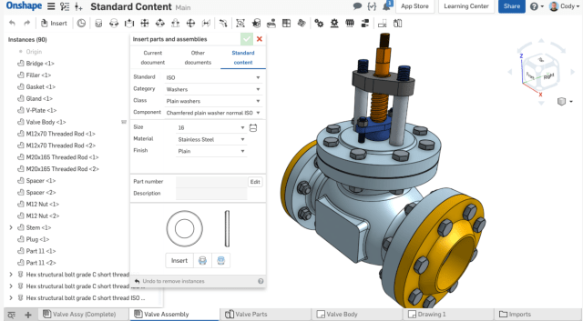 A library of standard content is now built directly into Onshape. (Image courtesy of Onshape.)