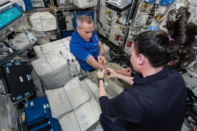 Astronaut David Saint-Jacques offering blood samples for the MARROW experiment. (Image courtesy of NASA.)