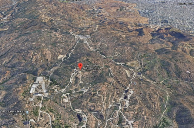 The view from above. The site of the Sodium Reactor Experiment (SRE) in the Santa Susana Field Lab in the lower left. To the east (upper right in picture) is Canoga Park, the start of the sprawl of Los Angeles. (Image courtesy of Google Maps.)