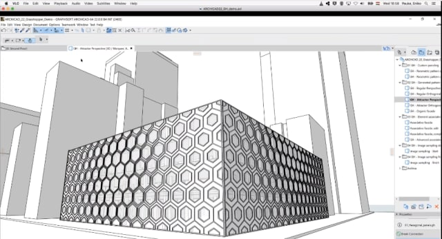 "The new Curtain Wall tool works with Grasshopper software to allow for more complex pattern modeling, like this ""pattern within a pattern."" (Image courtesy of GRAPHISOFT.)"