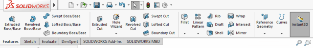 Figure 3. SOLIDWORKS modeling features.