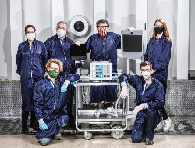 Engineering team at NASA's Jet Propulsion Lab in Pasadena, Calif. that developed a new ventilator prototype for coronavirus disease patients. (Image courtesy of NASA/JPL-Caltech.)