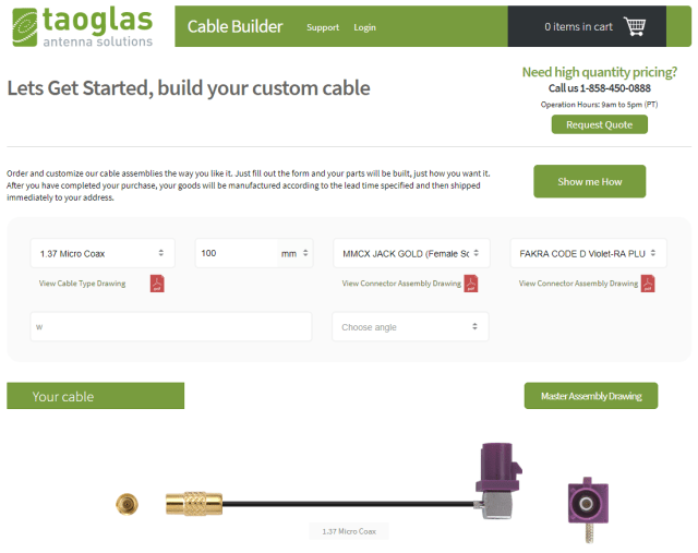 Screenshot of the Taoglas Cable Builder platform. (Image courtesy of Taoglas.)