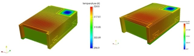 Using SimScale's cloud-based simulation software, McCall and his team were able to test multiple variations of the RF tester quickly and accurately. The above comparison shows similar results between the vertical and horizontal fins. The team went with the horizontal fins because they are easier to machine. (Image courtesy of QRC Technologies.)