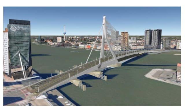 A 3D model of Erasmus Bridge in Rotterdam. (Image courtesy of GIM International.)
