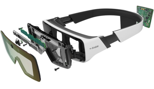 DAQRI Smart Glasses are a marvel of modern engineering. In this mobile AR unite, there is a 6th Generation Intel Core m7 CPU, a dedicated vision processing unit for 6-DOF tracking, two LCoS Optical Displays 44° Diagonal FOV; Resolution: 1360 X 768; Frame Rate: 90 fps; Connectivity: WiFi 802.11 A/B/G/N/AC 2.4/5 GHz Bluetooth; Battery: Built in rechargeable lithium ion battery 5800 mAh; Storage: 64 GB Solid State Drive. (Image courtesy of DAQRI.)