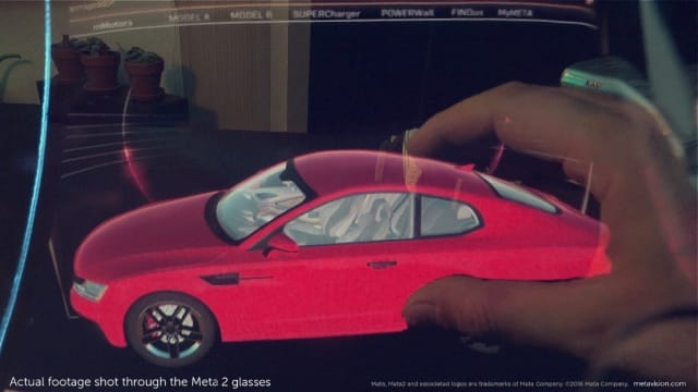 Footage shot through a Meta 2 headset. The picture doesn't do the Meta's resolution justice, but in person the car looks crisp and clear. (Image courtesy of Meta).