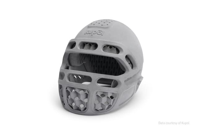 Kupol sports helmet 3D printed with HP Jet Fusion 5200. (Image courtesy of HP.)