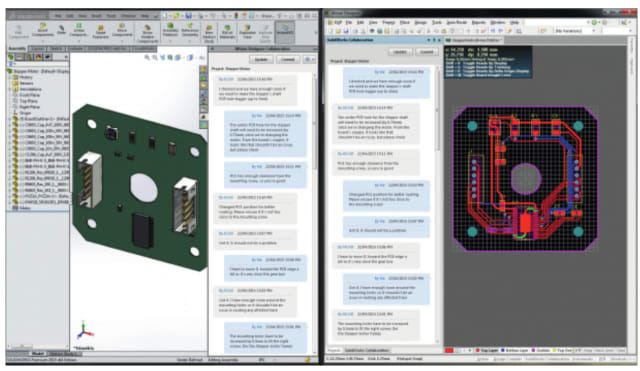 SOLIDWORKS and Altium Designer with comment and revision history tracked in the design process. (Image courtesy of SOLIDWORKS.)