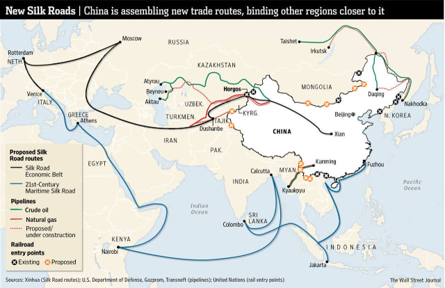 China's ambitious plan to expand trade routes is being called the New Silk Roads. (Image courtesy of the Wall Street Journal.)