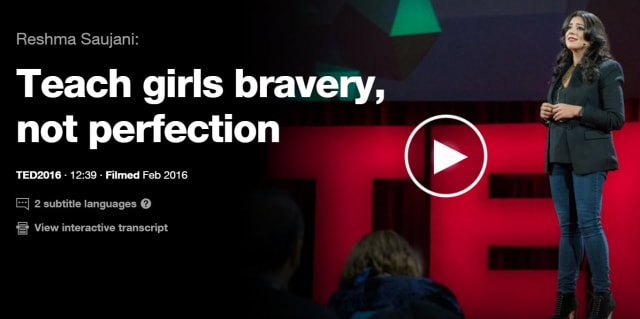 Saujani's famous TED talk focused on the ways that parents treat boys and girls differently, and how that impacts the risks they're willing to take later in life. (Image courtesy of TED Conferences, LLC.)
