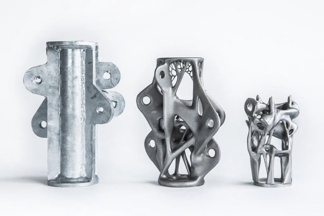 Load-bearing structural elements, each designed to carry the same weight. The two on the right, optimized through generative design software, bear a striking resemblance to Gaudi's buildings. (Image courtesy of ARUP.)