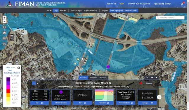 The North Carolina Flood Inundation Mapping Network (FIMAN) provides residents with real-time data on stream elevation, rainfall and weather conditions. (Image courtesy of FIMAN.)