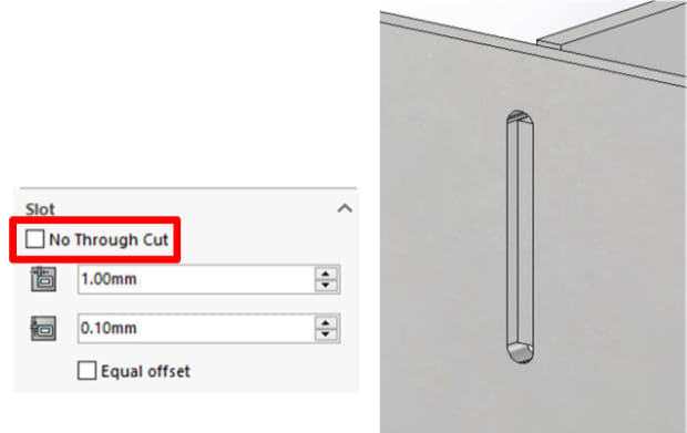 "Slots have a ""No Through Cut"" option in SOLIDWORKS 2019. (Image courtesy of SOLIDWORKS.)"