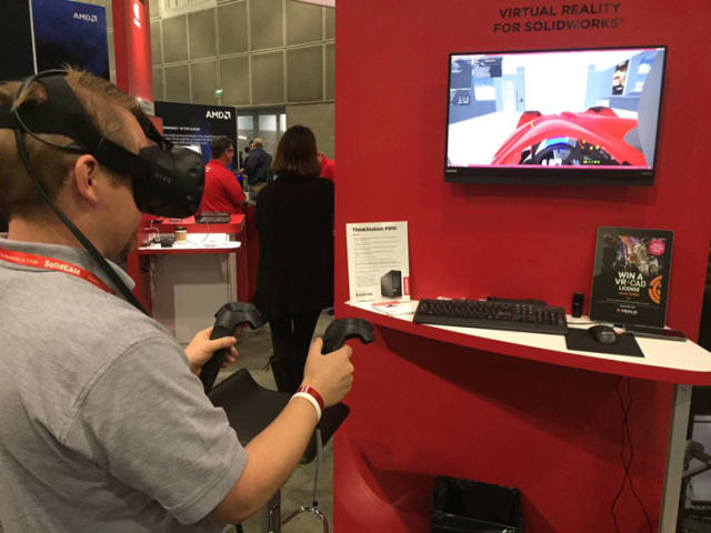 An attendee using VR4CAD at SOLIDWORKS World 2017. The software boils down to a less expensive version of Visionary Render, which is used by major players like BAE Systems, Raytheon and Rolls-Royce. The main benefit is that CAD engineers don't have to create an application in VR that requires a lot of Steam or Unity engine know-how. (Image courtesy of Virtalis.)