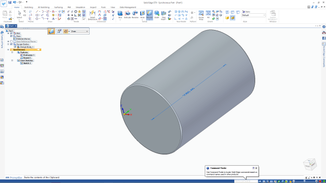 Figure 2. Easy extrusions in Solid Edge.