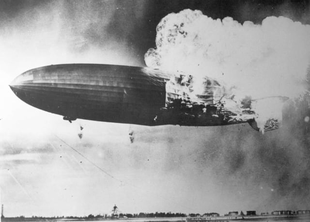 The Hindenburg caught fire during an attempt to dock with its mooring mastin 1937. (Image courtesy of San Diego Air & Space Museum Archives.)