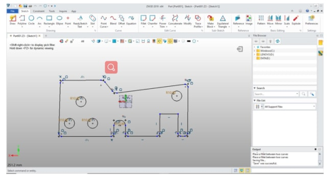 ZW3D Premium 2019 user interface in Sketch mode