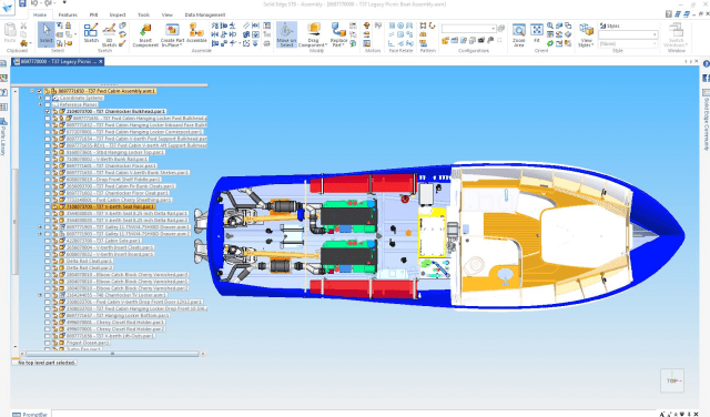 Figure 2b. Major design changes, such as the engines, feed back into the boat's weight model to check for performance and balance.