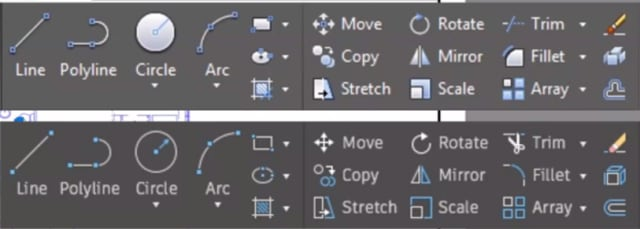 Comparison of old (top) and new (bottom) AutoCAD ribbon icons. (Image courtesy of Autodesk.)