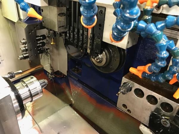 A Hanwha ML20H 7-axis Swiss-type lathe in the Swissomation shop. (Image courtesy of Swissomation.)