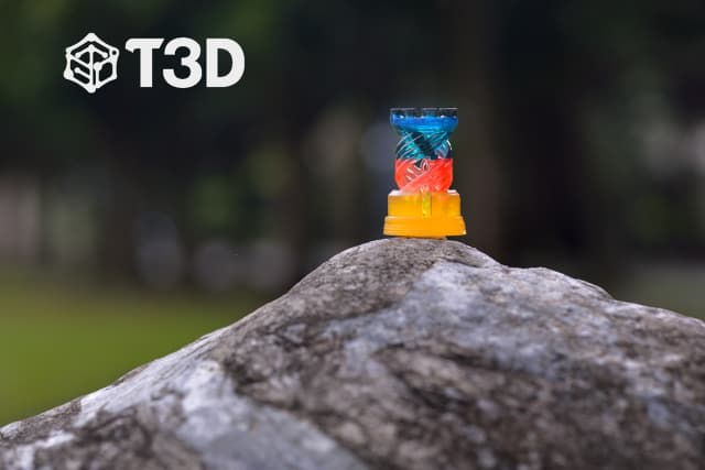 A 3D-printed object made with multiple different colored resins using the T3D printer. (Image courtesy of Taiwan 3D Tech.)