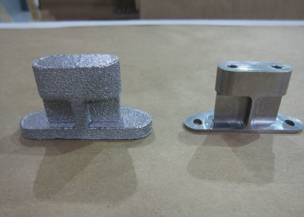 Two Ti-6Al-4V titanium alloy brackets 3D printed via EBM, before and after machining. (Image courtesy of NASA.)