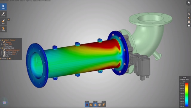 Performing a structural analysis on interactive geometry in ANSYS Discovery Live. (Image courtesy of ANSYS.)
