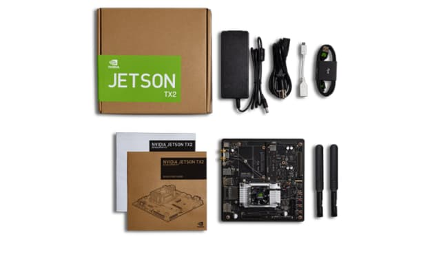 Powered by NVIDIA Maxwell arc, the Jetson TX2 (USD 499) has an external SD card storage port, integrated antennas for WiFi connectivity, a 5-megapixel MIPI CSI camera, a forced air heat sink and a variety of connectors (including HDMI, Gigabit Ethernet, USB-A, micro USB, as well as SATA data and power). (Image courtesy of NVIDIA.)