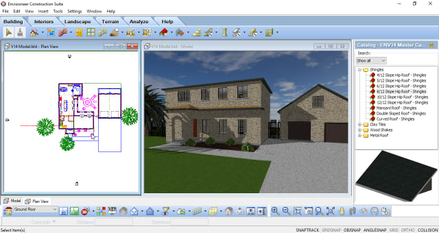With Envisioneer, 2D to 3D is seamless. Draw a house in 2D and a 3D model is automatically created. The gabled roof is generated with a few clicks or add a deck from a menu. You can even slope the ground under it and adjust the height of supports.