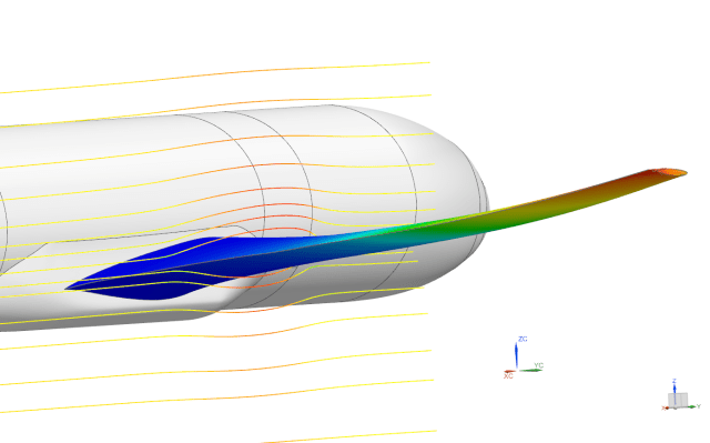 Simcenter 3D now handles multiphysics analysis of two-way fluid structure interaction (FSI) with a single solution of structural and fluid flow, launching a two-way coupled solution. FSI shown here is air flowing over a wing causing lift that deforms the wing, which then changes the flow field around the wing. (Image courtesy of Siemens.)